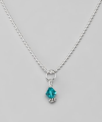 Blue Zircon Swarovski Crystal Ball Chain Necklace