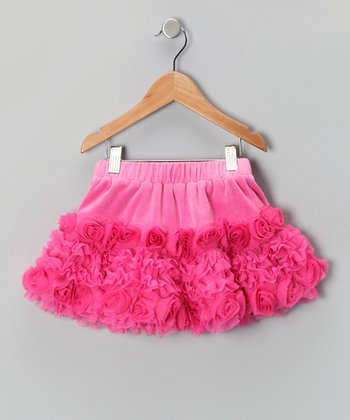 Pink Velour Rosette Skirt - Girls