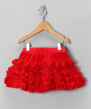 Red Velour Rosette Skirt - Toddler & Girls