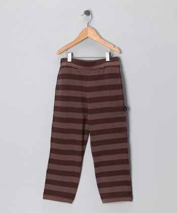 Brown Stripe Straight Pants - Toddler & Boys
