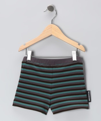 Steel Gray & Teal Lil' Roll Shorts - Infant