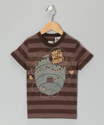 Brown 'What's Buzzin' Stripe Tee - Toddler & Boys