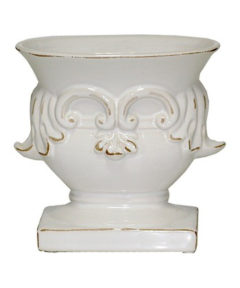 White Antiqued Villa Planter
