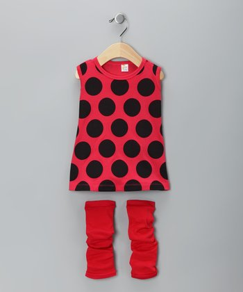 Red Ladybug Dress & Leg Warmers - Infant
