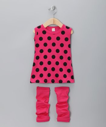 Fuchsia Polka Dot Dress & Leg Warmers - Infant