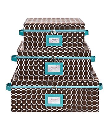Hula Chocolate Nested Zipper Storage Box Set