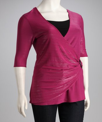 Magenta Plus-Size Surplice Top