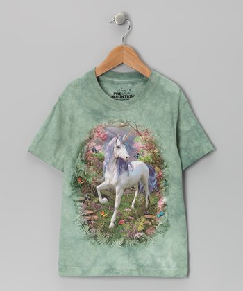 Green Unicorn Forest Tee - Toddler & Girls