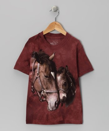 Maroon Two Hearts Tee - Toddler & Kids