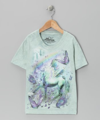 Mint Unicorn & Butterflies Tee - Toddler & Girls