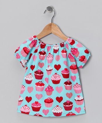 Blue Cupcake Peasant Dress - Toddler & Girls