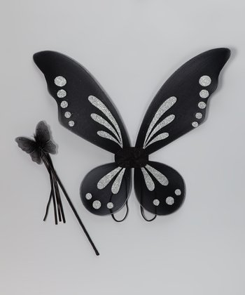 Black Fairy Wings & Wand