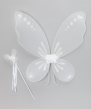 White Fairy Wings & Wand