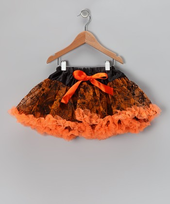 Orange & Black	Spiderweb Pettiskirt - Infant