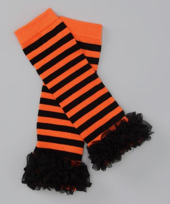 Orange Stripe Ruffle Leg Warmers