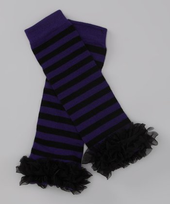 Purple Stripe Ruffle Leg Warmers