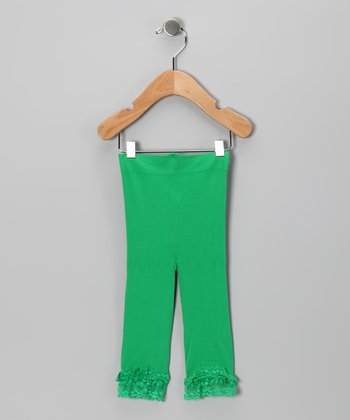 Green Lace Ruffle Leggings - Toddler & Girls