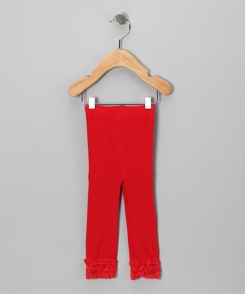 Red Lace Ruffle Leggings - Toddler & Girls