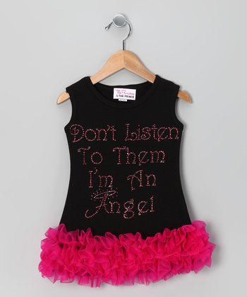 Black 'I'm an Angel' Ruffle Dress - Infant, Toddler & Girls