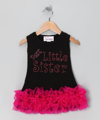 Black 'Best Little Sister' Ruffle Dress - Infant, Toddler & Girls