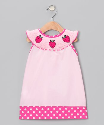 Pink Ladybug Smocked Yoke Dress - Infant