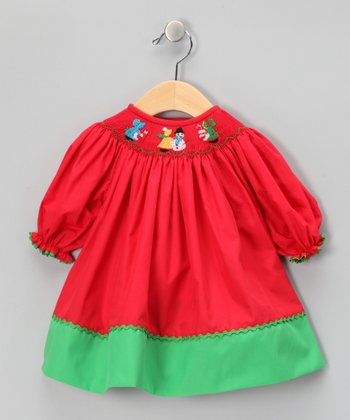 Red & Green Snowman Bishop Dress - Infant