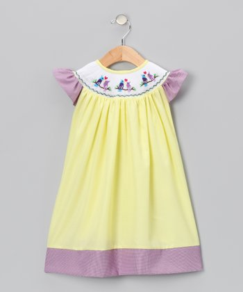 Yellow & Purple Birds Angel-Sleeve Dress - Infant