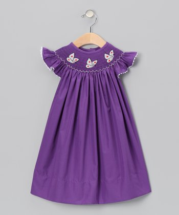 Purple Butterfly Angel-Sleeve Dress - Infant & Toddler