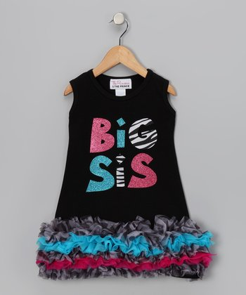Black 'Big Sis' Ruffle Dress - Infant, Toddler & Girls