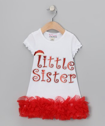 Red 'Little Sister' Ruffle Dress - Infant, Toddler & Girls