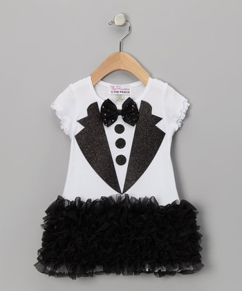 Black & White Tuxedo Ruffle Dress - Infant, Toddler & Girls