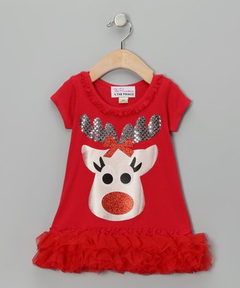 Red Reindeer Ruffle Dress - Infant, Toddler & Girls