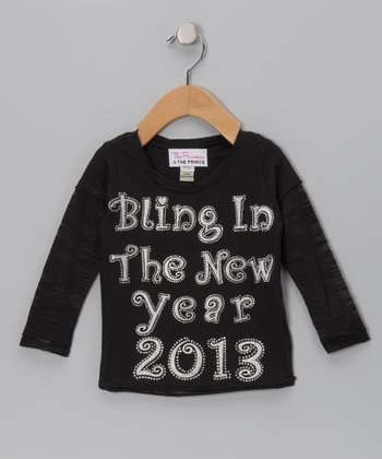 Black Shimmer 'New Year 2013' Tee - Infant, Toddler & Girls