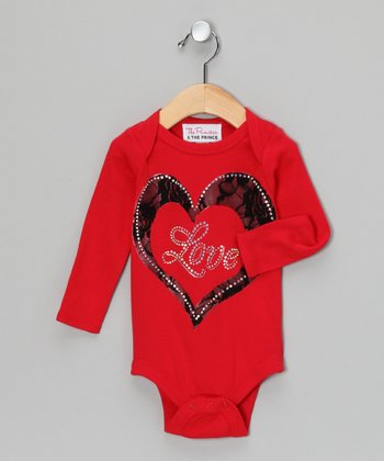 Red & Black 'Love' Lace Bodysuit - Infant