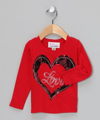 Red & Black 'Love' Lace Tee - Infant, Toddler & Girls