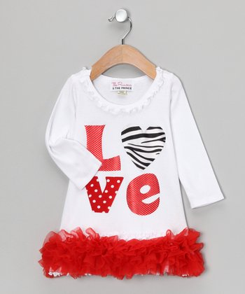 White & Red 'Love' Ruffle Dress - Infant, Toddler & Girls