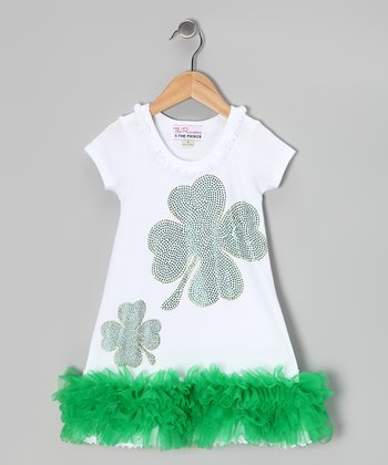 White & Green Lucky Charm Bling Dress - Infant, Toddler & Girls