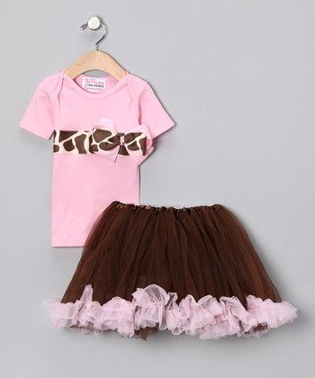 Pink Giraffe Bow Tee & Tutu - Infant, Toddler & Girls