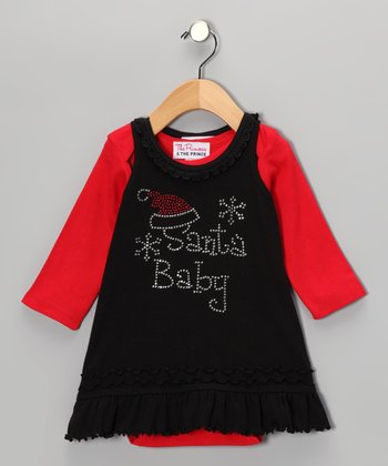 Black 'Santa Baby' Dress & Tee - Infant, Toddler & Girls