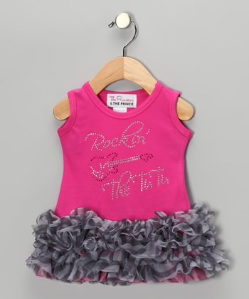 Pink 'Rockin' the Tutu' Ruffle Dress - Infant, Toddler & Girls