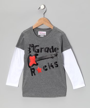 Gray '3rd Grade Rocks' Layered Tee - Boys