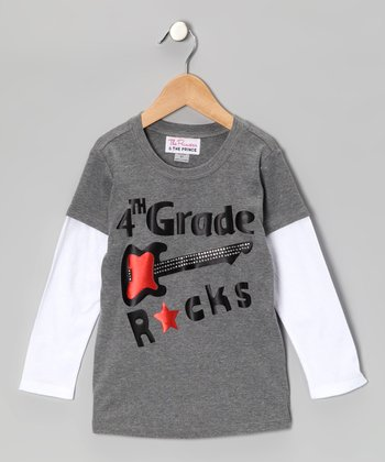 Gray '4th Grade Rocks' Layered Tee - Boys