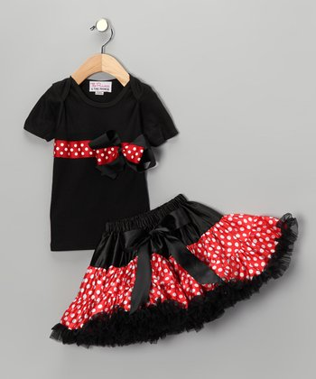 Black & Red Bow Tee & Pettiskirt - Infant, Toddler & Girls