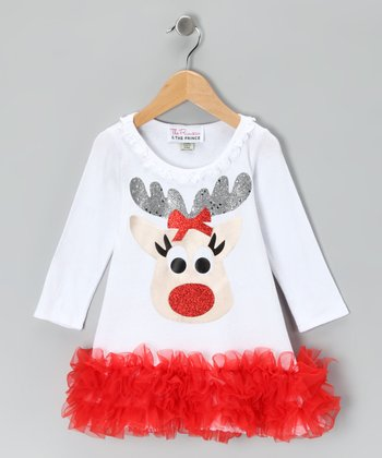White Reindeer Ruffle Dress - Infant