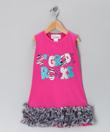 Pink '2nd Grade Rocks' Ruffle Dress - Infant, Toddler & Girls