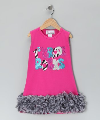 Pink '1st Grade Rocks' Ruffle Dress - Infant, Toddler & Girls