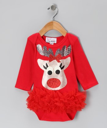 Red Reindeer Ruffle Bodysuit - Infant