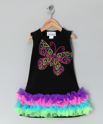 Black Butterfly Ruffle Dress - Infant, Toddler & Girls