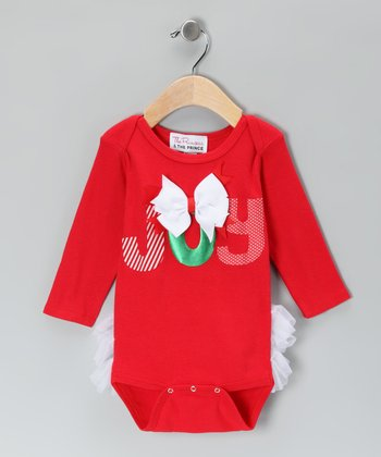 Red 'Joy' Ruffle Bodysuit - Infant