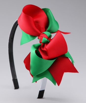 Green & Red Bow Headband